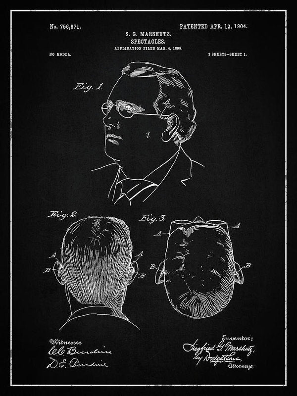 Vintage Eyeglass Spectacles Patent, 1904 - Art Print from Wallasso - The Wall Art Superstore