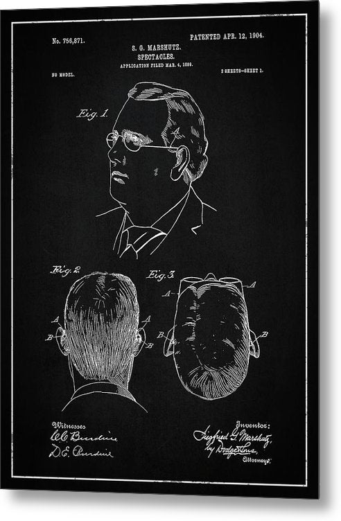 Vintage Eyeglass Spectacles Patent, 1904 - Metal Print from Wallasso - The Wall Art Superstore