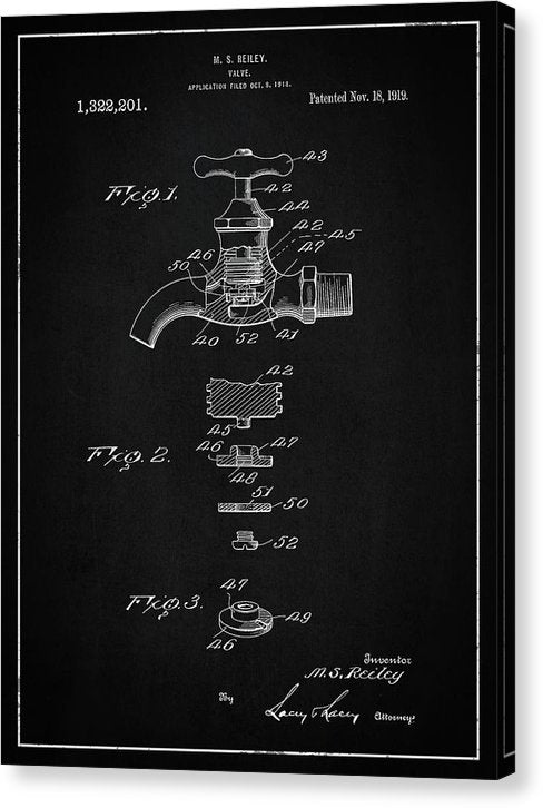 Vintage Faucet Patent, 1919 - Canvas Print from Wallasso - The Wall Art Superstore