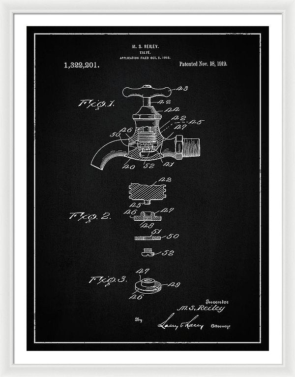 Vintage Faucet Patent, 1919 - Framed Print from Wallasso - The Wall Art Superstore