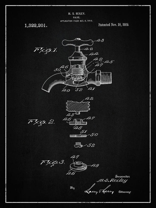 Vintage Faucet Patent, 1919 - Art Print from Wallasso - The Wall Art Superstore