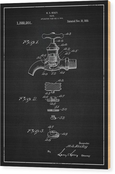 Vintage Faucet Patent, 1919 - Wood Print from Wallasso - The Wall Art Superstore