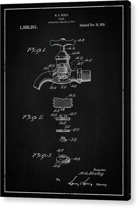 Vintage Faucet Patent, 1919 - Acrylic Print from Wallasso - The Wall Art Superstore