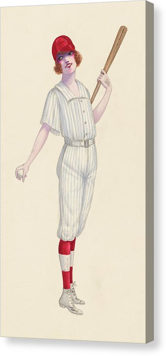 Vintage Female Baseball Player Pinup Sketch, 1 of 2 Set - Canvas Print from Wallasso - The Wall Art Superstore