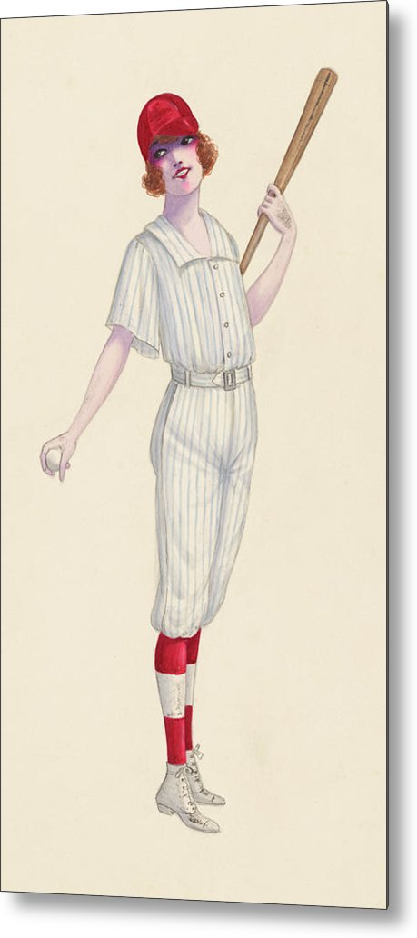 Vintage Female Baseball Player Pinup Sketch, 1 of 2 Set - Metal Print from Wallasso - The Wall Art Superstore