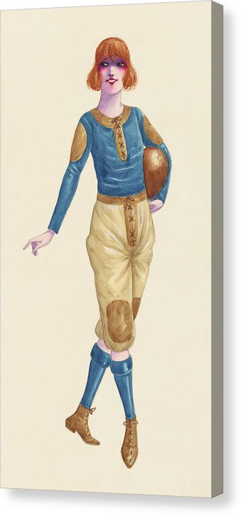 Vintage Female Football Player Pinup Sketch, 2 of 2 Set - Canvas Print from Wallasso - The Wall Art Superstore