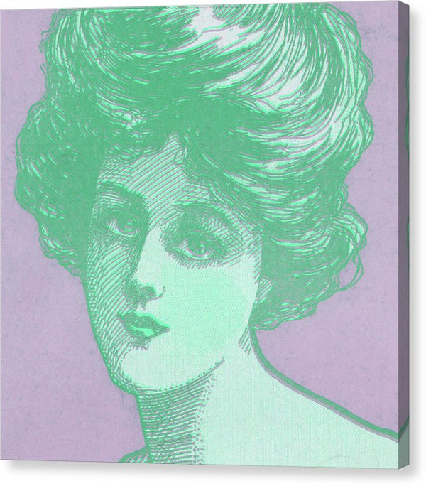 Vintage Female Sketch Portrait Green and Purple Pop Art - Canvas Print from Wallasso - The Wall Art Superstore
