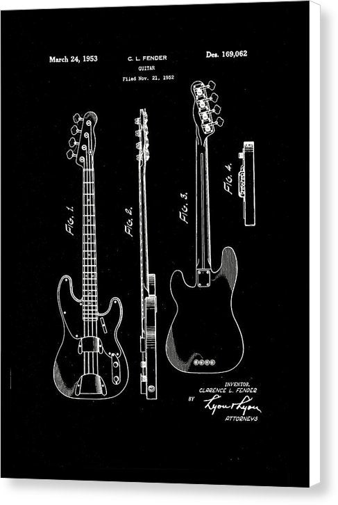 Vintage Fender Bass Guitar Patent, 1952 - Canvas Print from Wallasso - The Wall Art Superstore