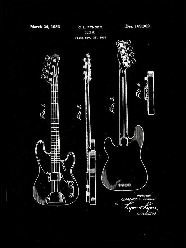 Vintage Fender Bass Guitar Patent, 1952 - Art Print from Wallasso - The Wall Art Superstore