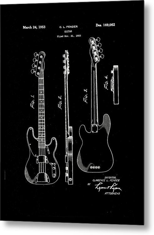 Vintage Fender Bass Guitar Patent, 1952 - Metal Print from Wallasso - The Wall Art Superstore
