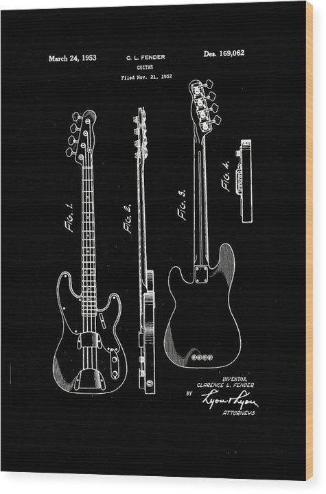 Vintage Fender Bass Guitar Patent, 1952 - Wood Print from Wallasso - The Wall Art Superstore