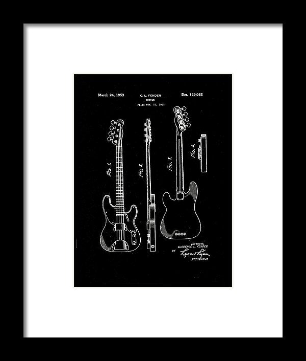 Vintage Fender Bass Guitar Patent, 1952 - Framed Print from Wallasso - The Wall Art Superstore