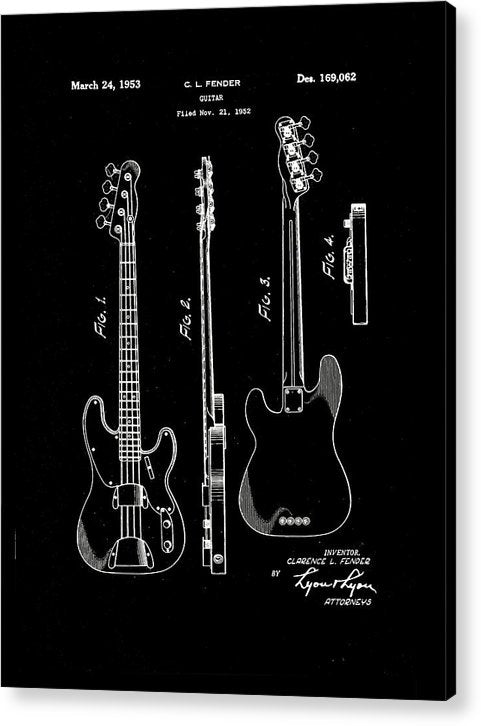 Vintage Fender Bass Guitar Patent, 1952 - Acrylic Print from Wallasso - The Wall Art Superstore