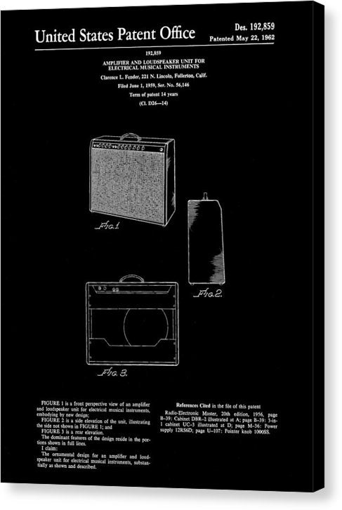 Vintage Fender Guitar Amplifier Patent, 1959 - Canvas Print from Wallasso - The Wall Art Superstore
