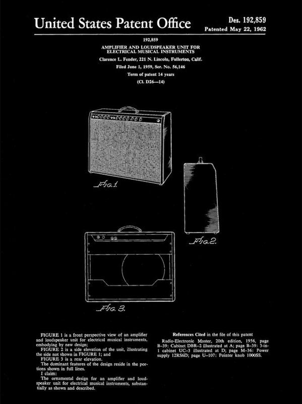 Vintage Fender Guitar Amplifier Patent, 1959 - Art Print from Wallasso - The Wall Art Superstore