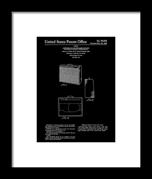 Vintage Fender Guitar Amplifier Patent, 1959 - Framed Print from Wallasso - The Wall Art Superstore