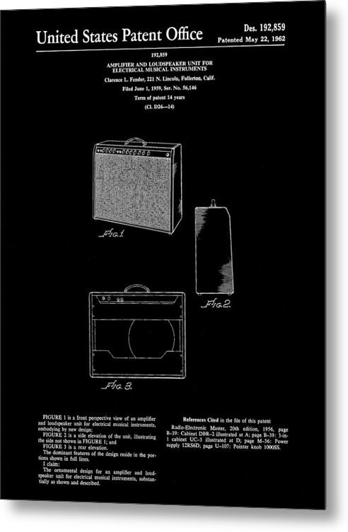 Vintage Fender Guitar Amplifier Patent, 1959 - Metal Print from Wallasso - The Wall Art Superstore