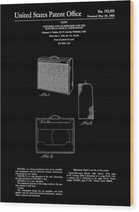 Vintage Fender Guitar Amplifier Patent, 1959 - Wood Print from Wallasso - The Wall Art Superstore