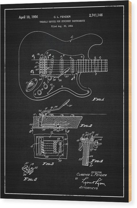 Vintage Fender Guitar Tremolo Patent, 1956 - Wood Print from Wallasso - The Wall Art Superstore