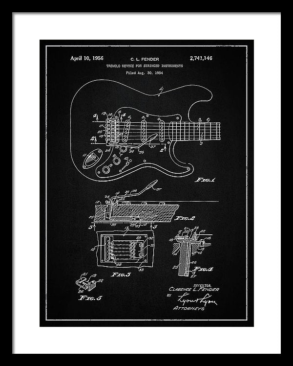 Vintage Fender Guitar Tremolo Patent, 1956 - Framed Print from Wallasso - The Wall Art Superstore