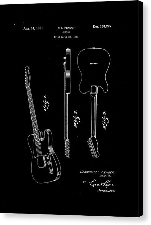 Vintage Fender Telecaster Guitar Patent, 1951 - Canvas Print from Wallasso - The Wall Art Superstore