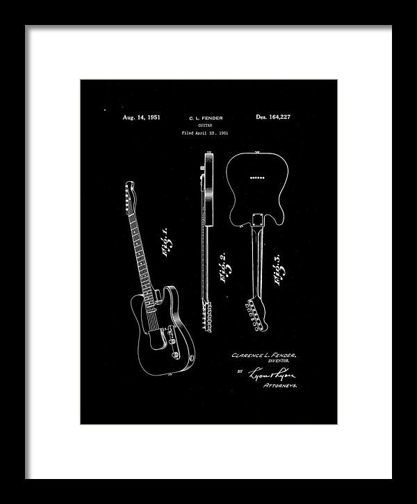 Vintage Fender Telecaster Guitar Patent, 1951 - Framed Print from Wallasso - The Wall Art Superstore