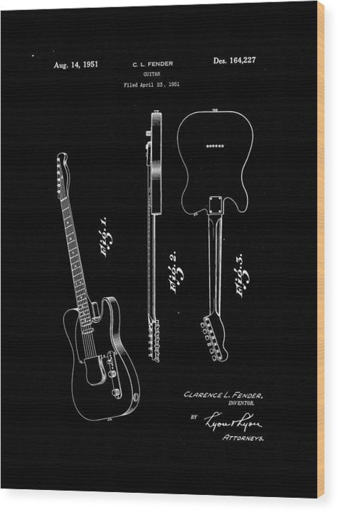 Vintage Fender Telecaster Guitar Patent, 1951 - Wood Print from Wallasso - The Wall Art Superstore