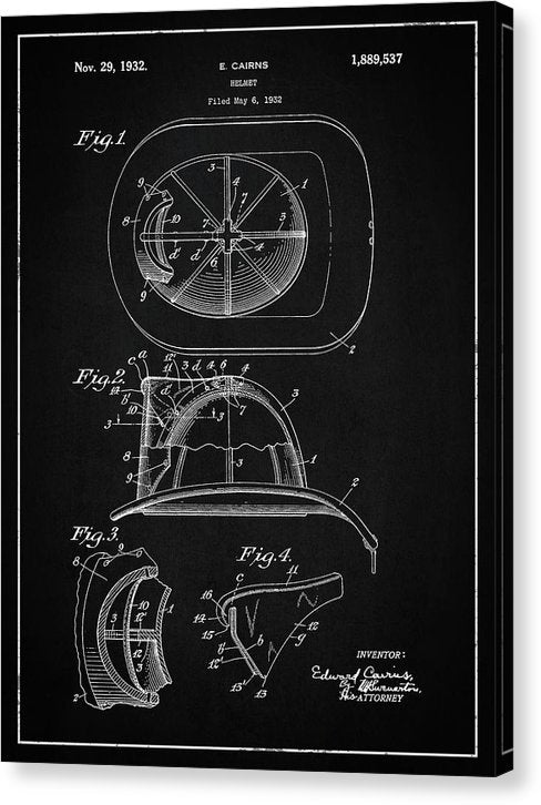 Vintage Firefighter Helmet Patent, 1932 - Canvas Print from Wallasso - The Wall Art Superstore