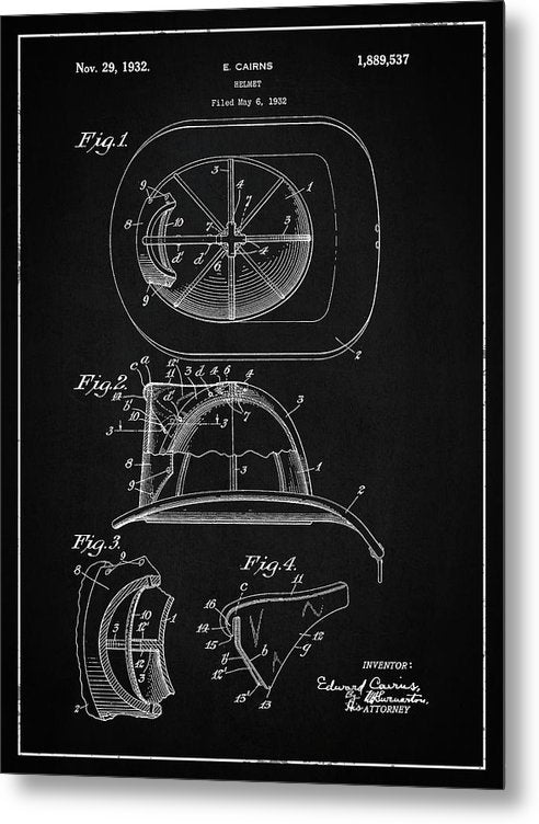 Vintage Firefighter Helmet Patent, 1932 - Metal Print from Wallasso - The Wall Art Superstore