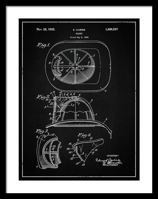 Vintage Firefighter Helmet Patent, 1932 - Framed Print from Wallasso - The Wall Art Superstore