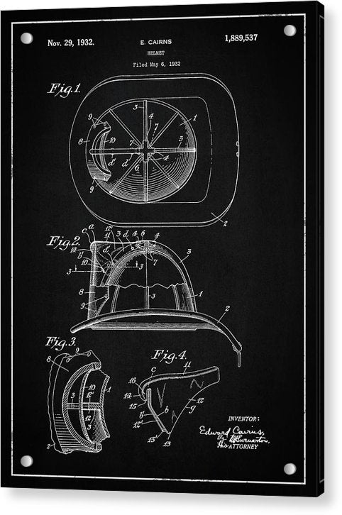 Vintage Firefighter Helmet Patent, 1932 - Acrylic Print from Wallasso - The Wall Art Superstore