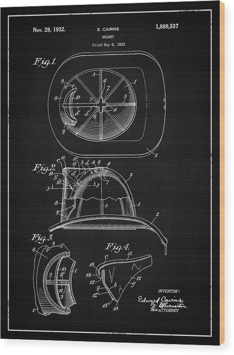 Vintage Firefighter Helmet Patent, 1932 - Wood Print from Wallasso - The Wall Art Superstore