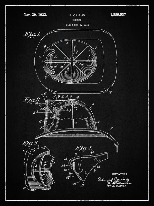 Vintage Firefighter Helmet Patent, 1932 - Art Print from Wallasso - The Wall Art Superstore