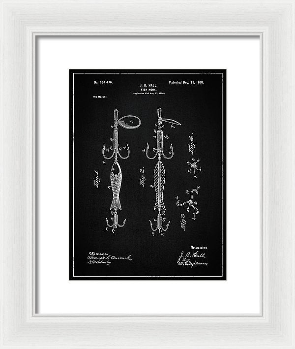 Vintage Fish Hook Lure Patent, 1900 - Framed Print from Wallasso - The Wall Art Superstore