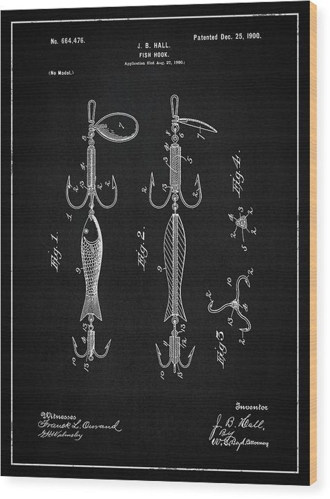 Vintage Fish Hook Lure Patent, 1900 - Wood Print from Wallasso - The Wall Art Superstore