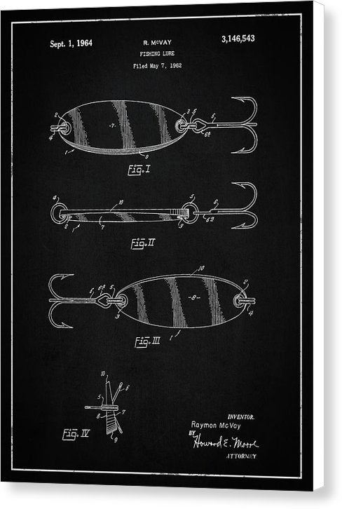 Vintage Fishing Lure Patent, 1964 - Canvas Print from Wallasso - The Wall Art Superstore