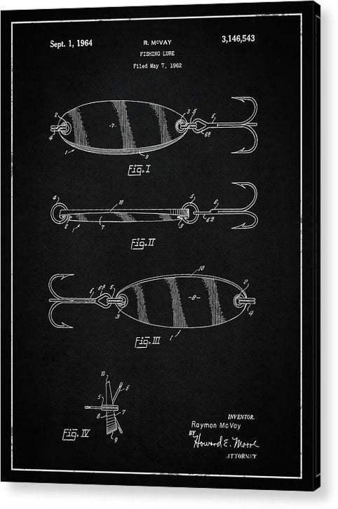 Vintage Fishing Lure Patent, 1964 - Acrylic Print from Wallasso - The Wall Art Superstore