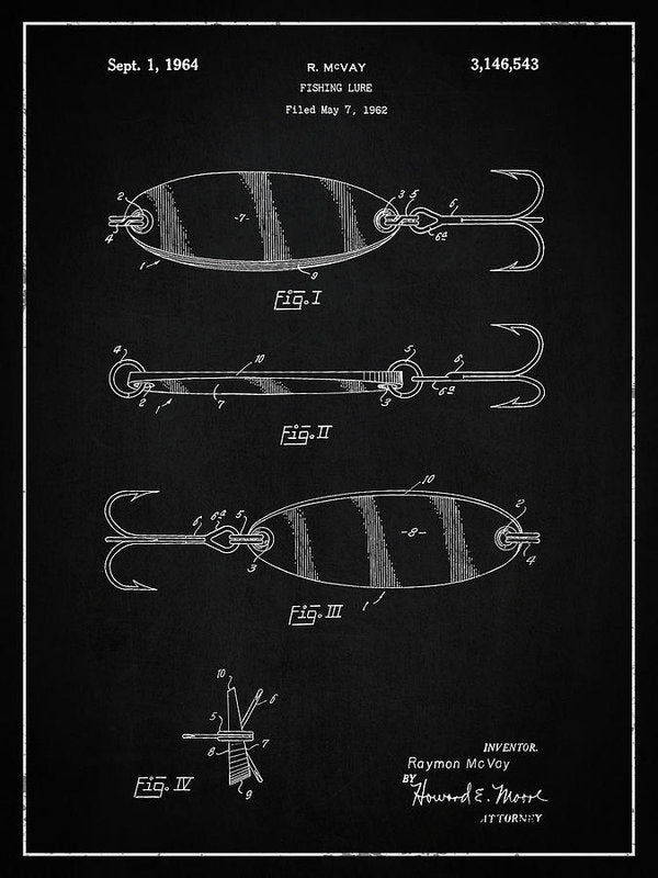 Vintage Fishing Lure Patent, 1964 - Art Print from Wallasso - The Wall Art Superstore