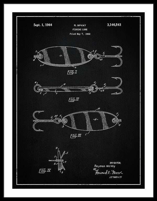 Vintage Fishing Lure Patent, 1964 - Framed Print from Wallasso - The Wall Art Superstore