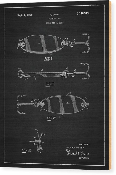 Vintage Fishing Lure Patent, 1964 - Wood Print from Wallasso - The Wall Art Superstore