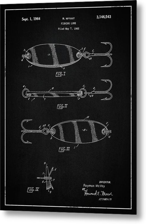 Vintage Fishing Lure Patent, 1964 - Metal Print from Wallasso - The Wall Art Superstore