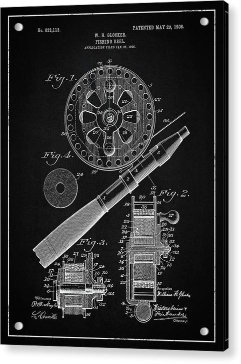 Vintage Fishing Reel Patent, 1906 - Acrylic Print from Wallasso - The Wall Art Superstore