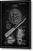 Vintage Fishing Reel Patent, 1906 - Metal Print from Wallasso - The Wall Art Superstore
