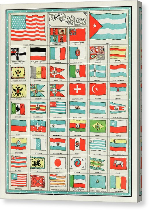 Vintage Flags of All Nations Collection, 1901 - Canvas Print from Wallasso - The Wall Art Superstore