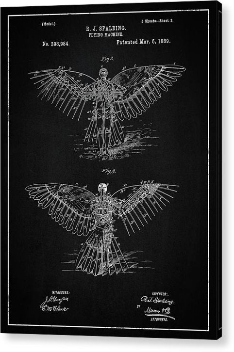 Vintage Flying Machine Patent, 1889 - Acrylic Print from Wallasso - The Wall Art Superstore
