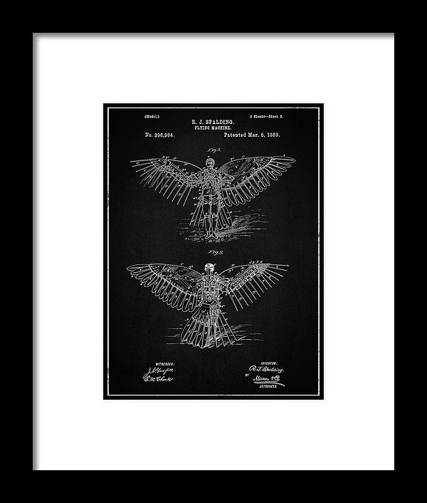 Vintage Flying Machine Patent, 1889 - Framed Print from Wallasso - The Wall Art Superstore