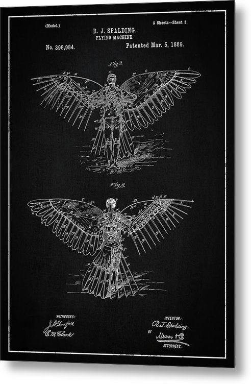 Vintage Flying Machine Patent, 1889 - Metal Print from Wallasso - The Wall Art Superstore