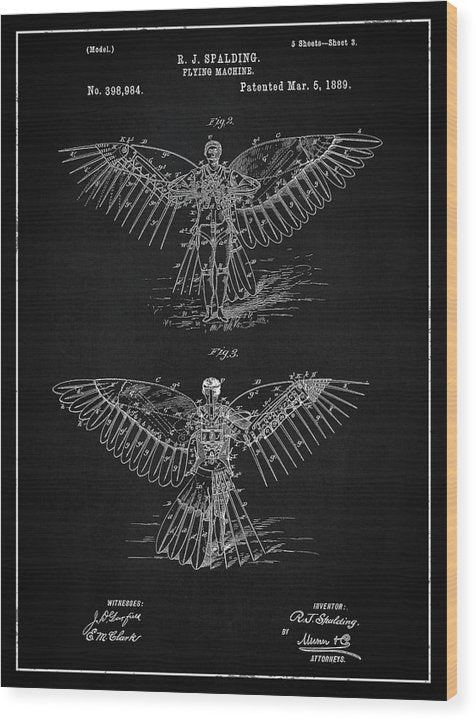 Vintage Flying Machine Patent, 1889 - Wood Print from Wallasso - The Wall Art Superstore