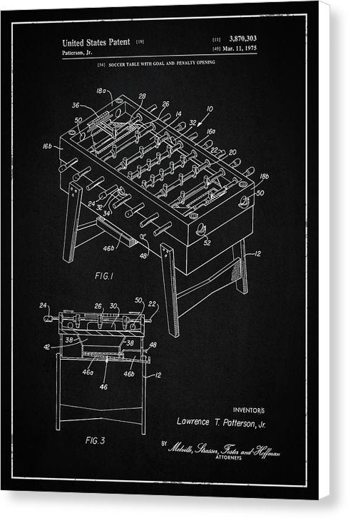 Vintage Foosball Table Patent, 1975 - Canvas Print from Wallasso - The Wall Art Superstore