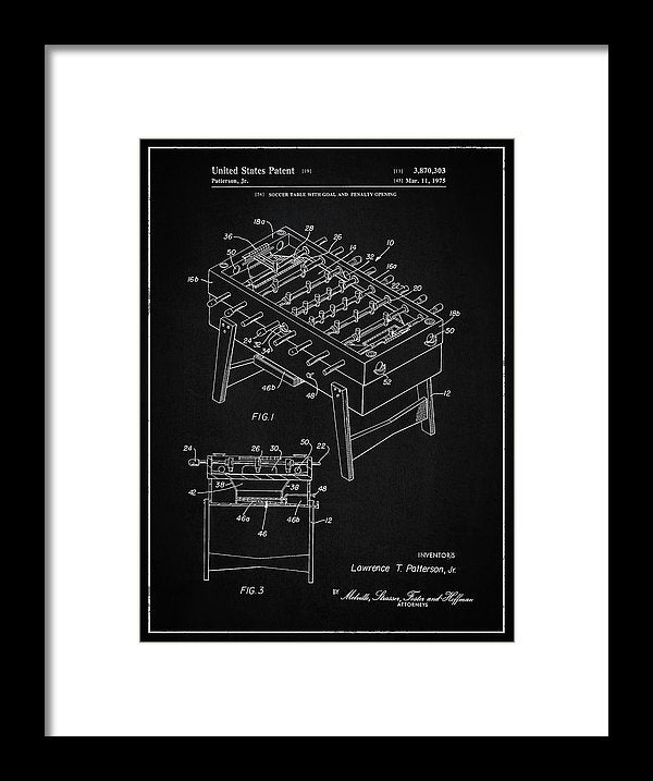 Vintage Foosball Table Patent, 1975 - Framed Print from Wallasso - The Wall Art Superstore